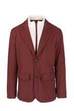 Kiton - Burgundy Quilted Parka With Interior Bib