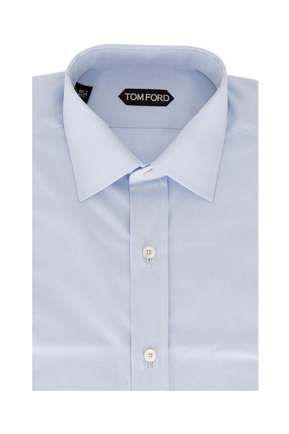 Tom Ford Light Blue Fine Poplin Sport Shirt