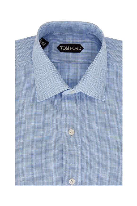 Tom Ford Light Blue Small Prince Of Whales Sport Shirt