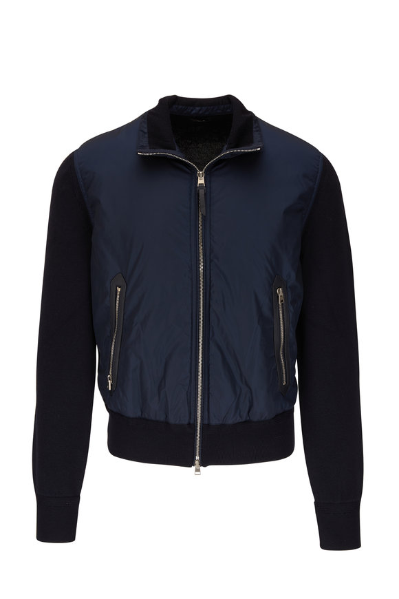 Tom Ford Navy Mix Media Bomber Jacket