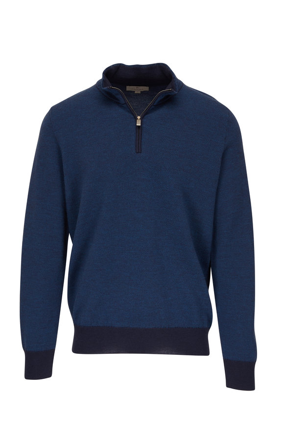 Canali Blue Wool Quarter-Zip Pullover