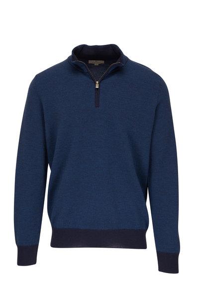 Canali - Blue Wool Quarter-Zip Pullover