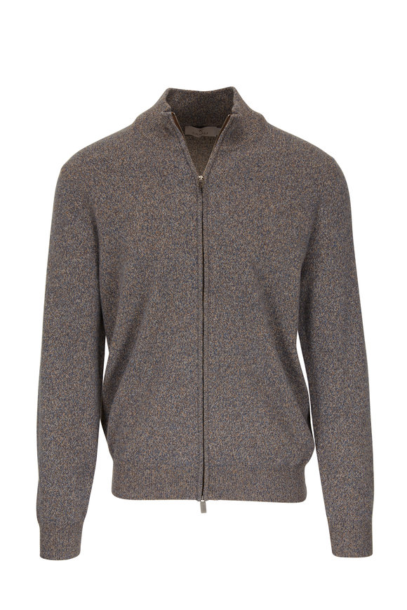Canali Tan Melange Wool & Cashmere Front Zip Sweater
