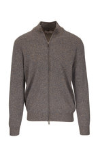 Canali - Tan Melange Wool & Cashmere Front Zip Sweater