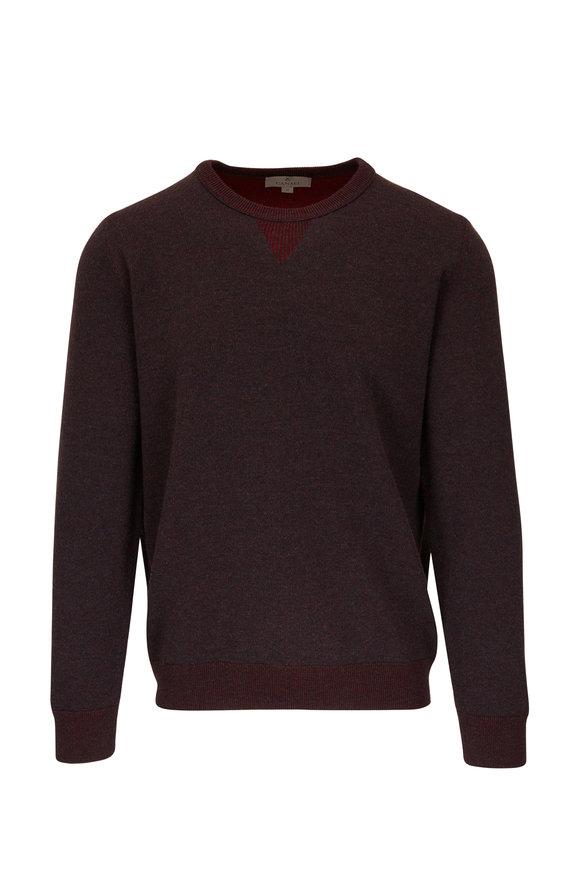 Canali Burgundy Wool Crewneck Pullover