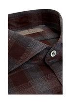 Canali - Gray & Burgundy Plaid Sport Shirt