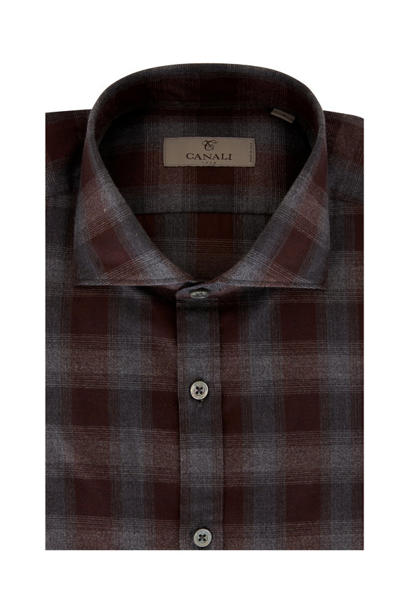Canali Gray & Burgundy Plaid Sport Shirt