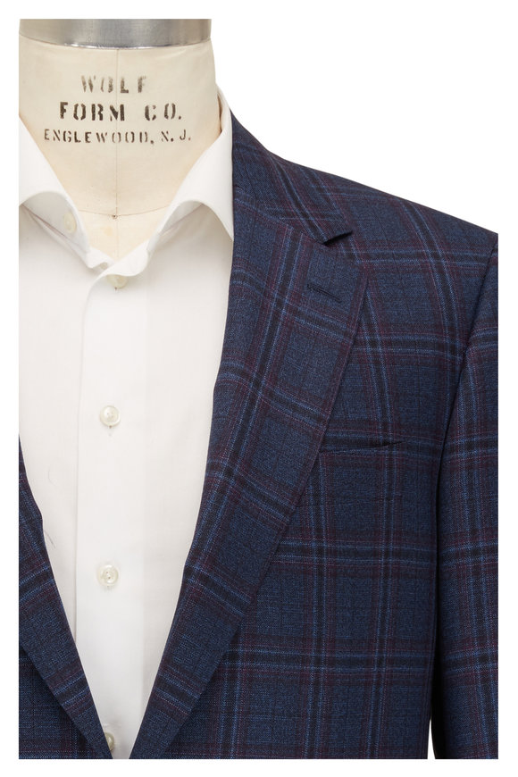 Canali Blue, Navy & Claret Plaid Wool Sportcoat