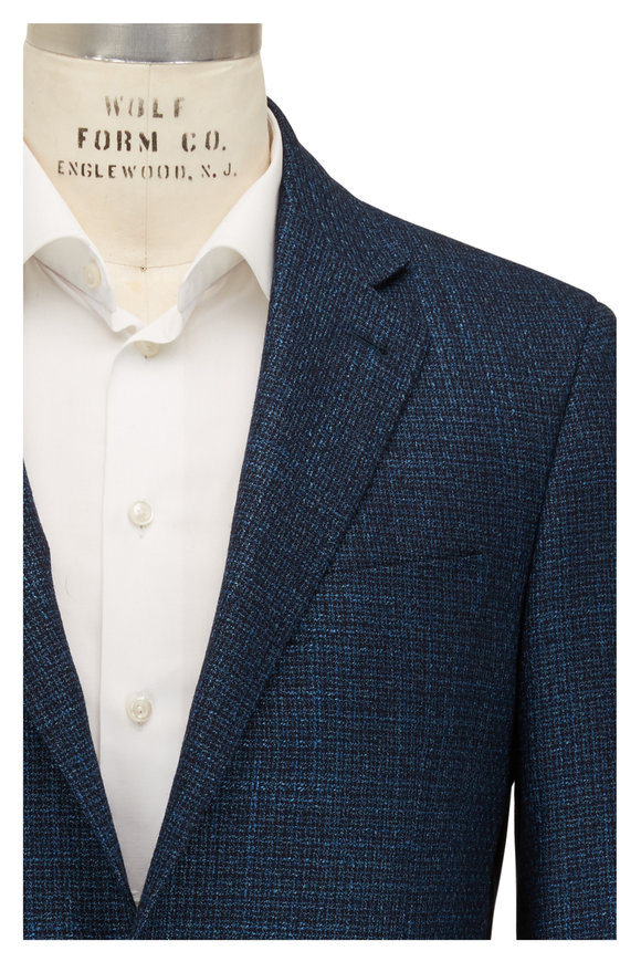Canali Aqua Blue Hopsack Two Button Sportcoat