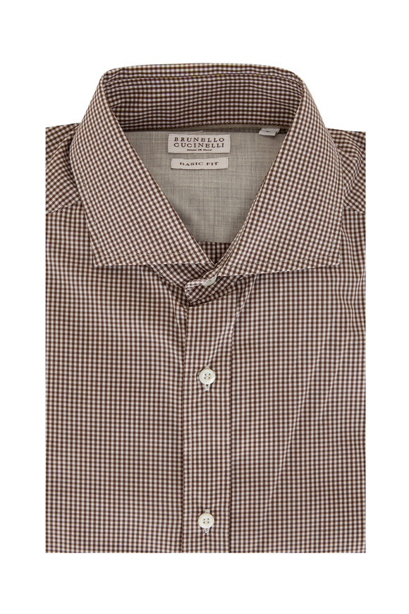 Brunello Cucinelli Brown & White Check Basic Fit Sport Shirt