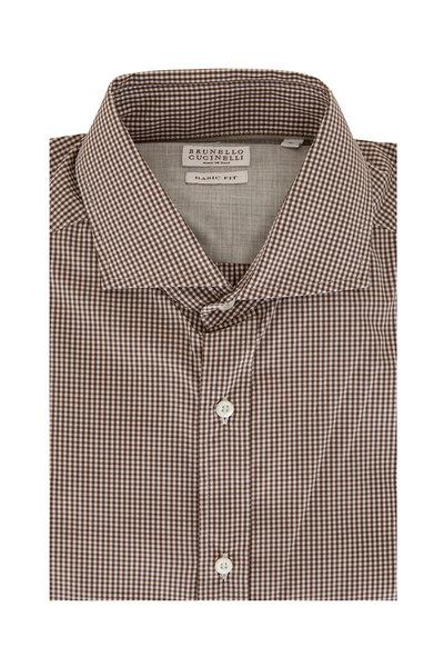 Brunello Cucinelli - Brown & White Check Basic Fit Sport Shirt