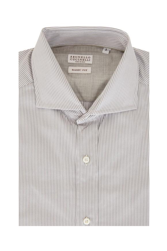 Brunello Cucinelli Gray & White Pinstripe Basic Fit Sport Shirt