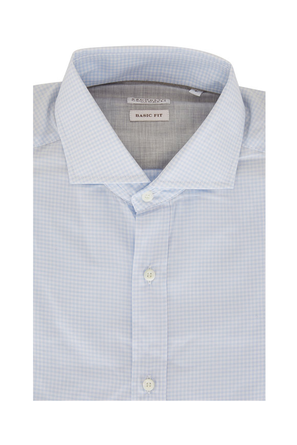 Brunello Cucinelli Light Blue Gingham Basic Fit Sport Shirt