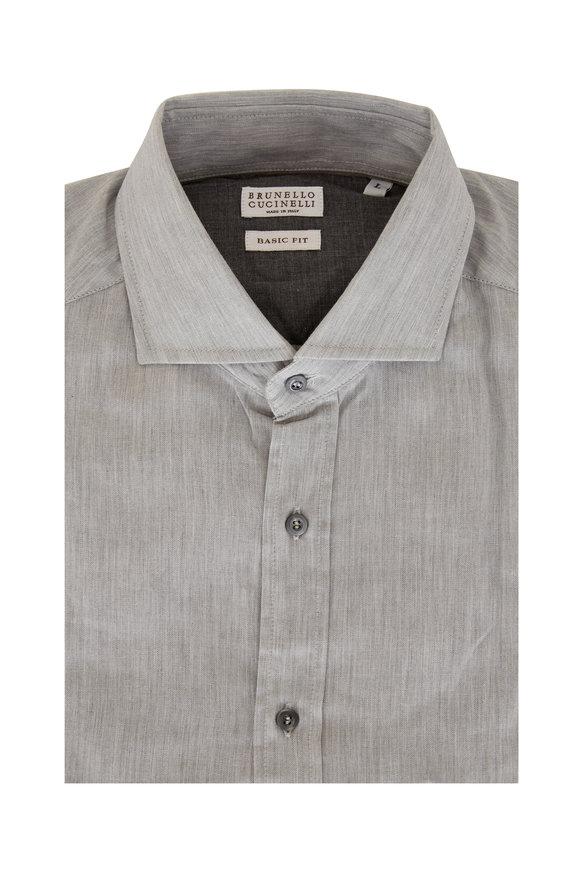 Brunello Cucinelli Gray Tonal Chevron Basic Fit Sport Shirt
