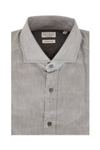 Brunello Cucinelli - Gray Tonal Chevron Basic Fit Sport Shirt