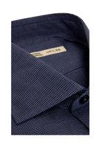 Maurizio Baldassari - Navy Blue Mini Houndstooth Sport Shirt