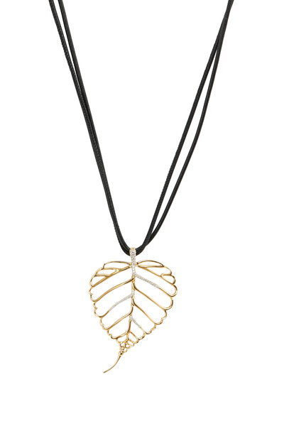 Assael - Yellow Gold Diamond Leaf Pendant Necklace