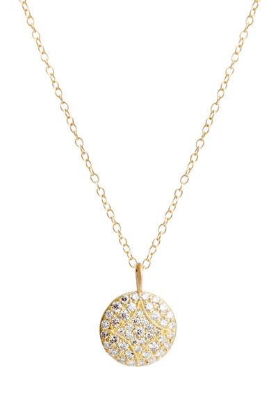 Jamie Wolf - Aladdin Yellow Gold White Diamond Disc Necklace