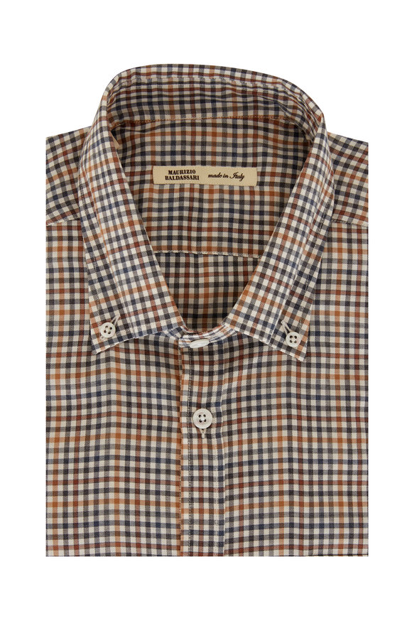 Maurizio Baldassari Black & Tan Mini Check Sport Shirt