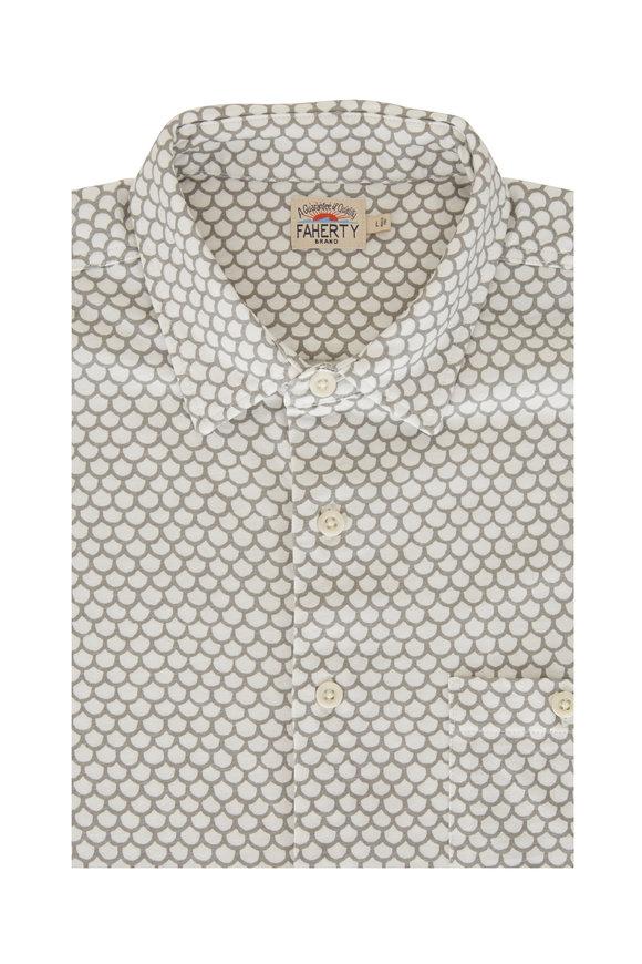 Faherty Brand Coast White Fish Scale Short Sleeve Shirt