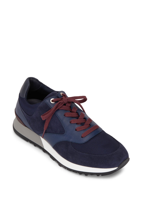 John Lobb Foundry Navy Blue Suede, Leather & Mesh Trainer