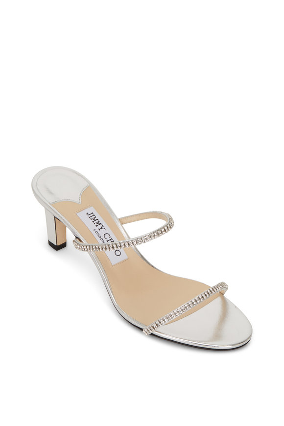 Jimmy Choo Brea Silver Crystal Two-Band Sandal Slide, 65mm
