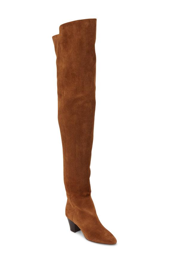 Saint Laurent Sun Land Suede Over-The-Knee Boot, 60mm