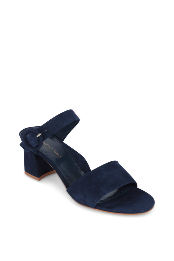 Marion Parke Brianna Navy Blue Suede Two-Band Sandal, 60mm