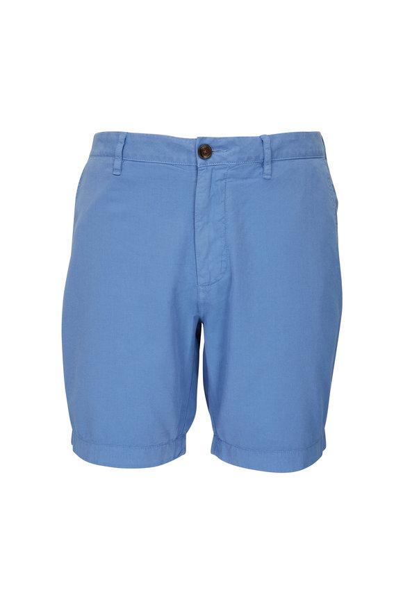 Faherty Brand Harbor Cloud Blue Cotton Blend Shorts