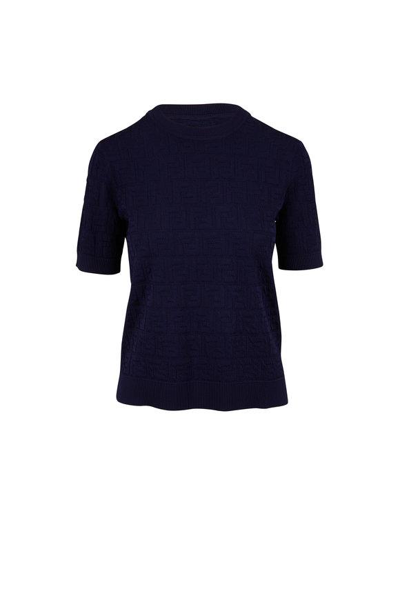 Fendi Navy Logo Knit Short Sleeve Top