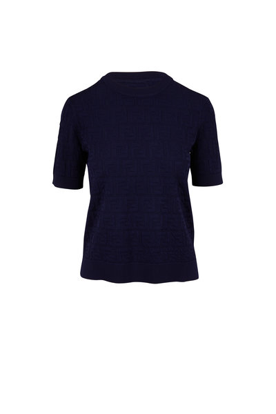 Fendi - Navy Logo Knit Short Sleeve Top
