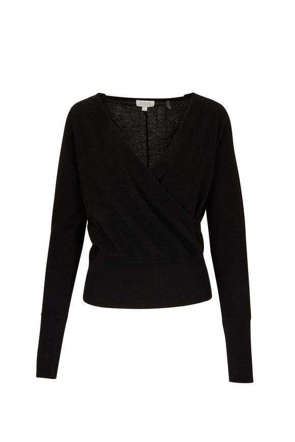 Kinross Black Cashmere Surplus Necklace Sweater