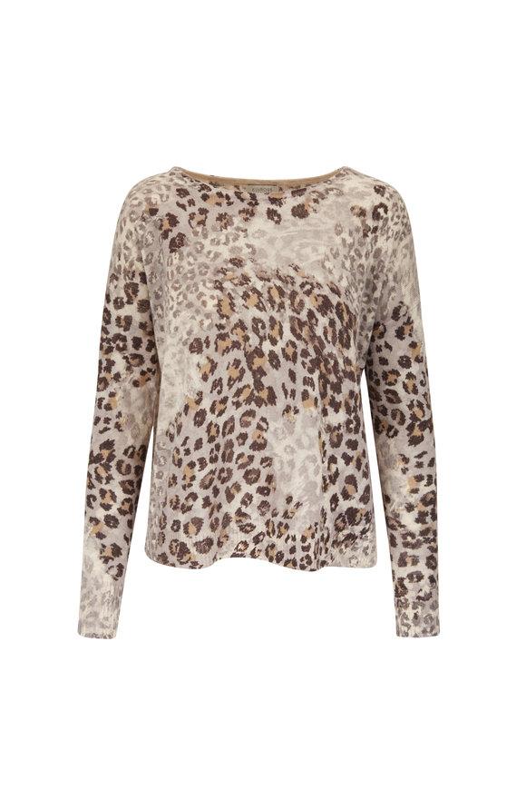 Kinross Suede Multi Leopard Printed Crewneck Sweater