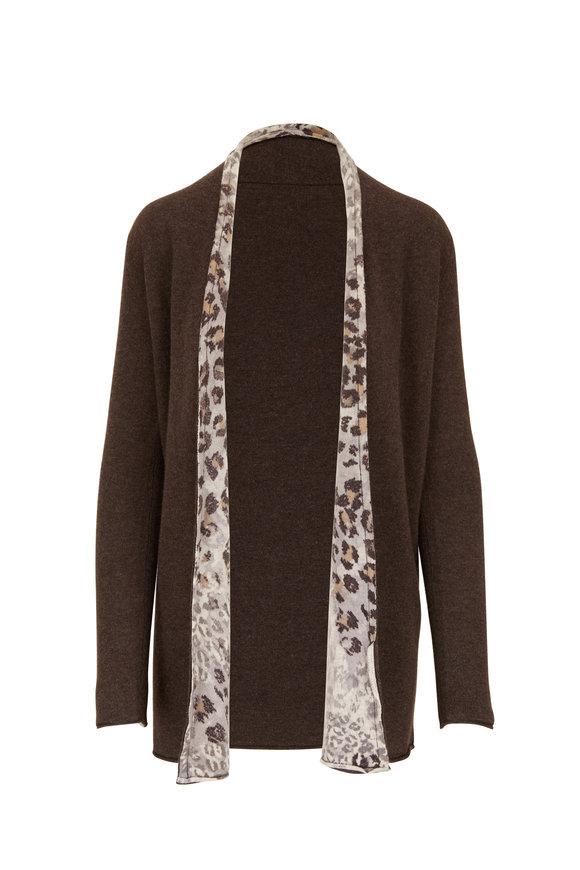 Kinross Cafe & Leopard Cashmere Reversible Open Cardigan