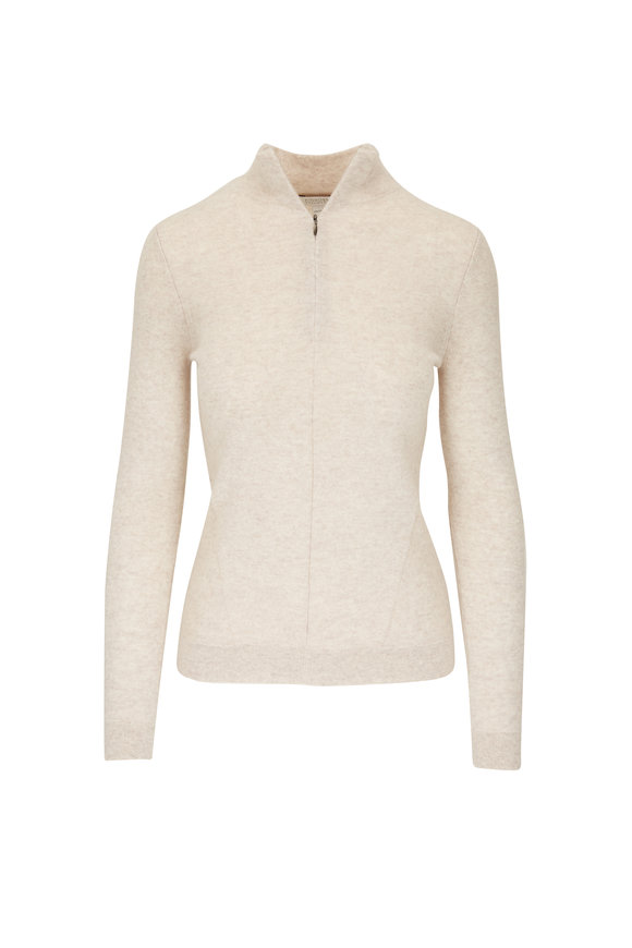 Kinross Sand Cashmere Zip Front Sweater