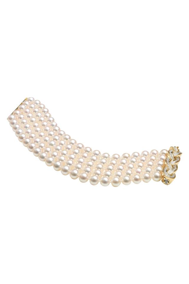 Pave Diamond Woven Wave Gold Pearl Bracelet