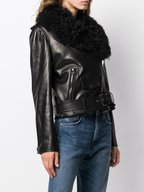 Tom Ford - Black Leather Moto Jacket With Shearling Vest