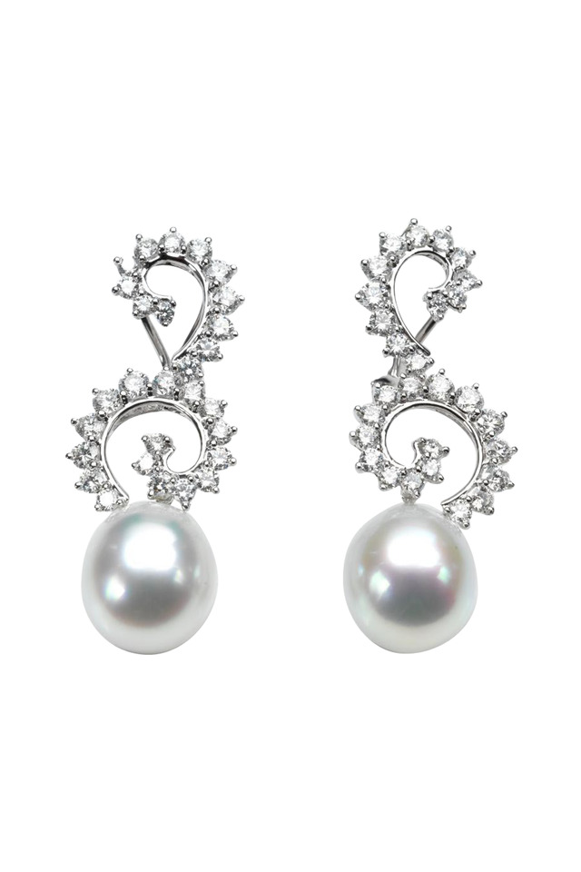 White Gold South Sea Pearl Diamond Drop Earrings