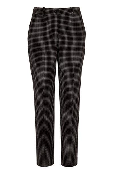 Michael Kors Collection - Sam Black Stretch Wool Mini Windowpane Pant