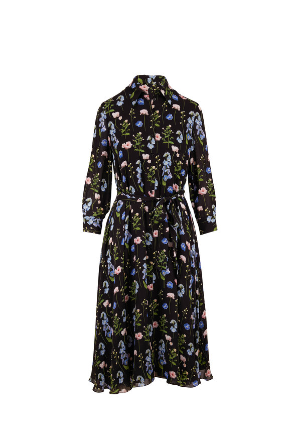 Carolina Herrera Black Multi Silk Floral Belted Shirtdress