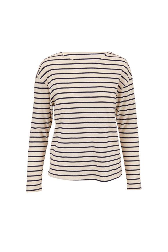 Nili Lotan Arlette Dark Navy Stripe Long Sleeve T-Shirt