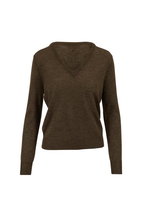 Nili Lotan Muriel Army Green Cashmere Sweater