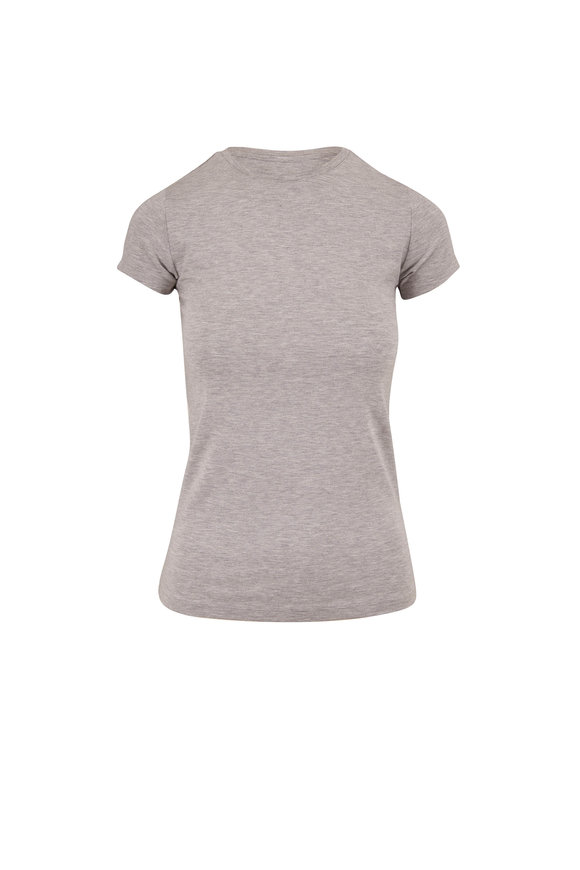 L'Agence Ressie Light Heather Gray Fitted T-Shirt