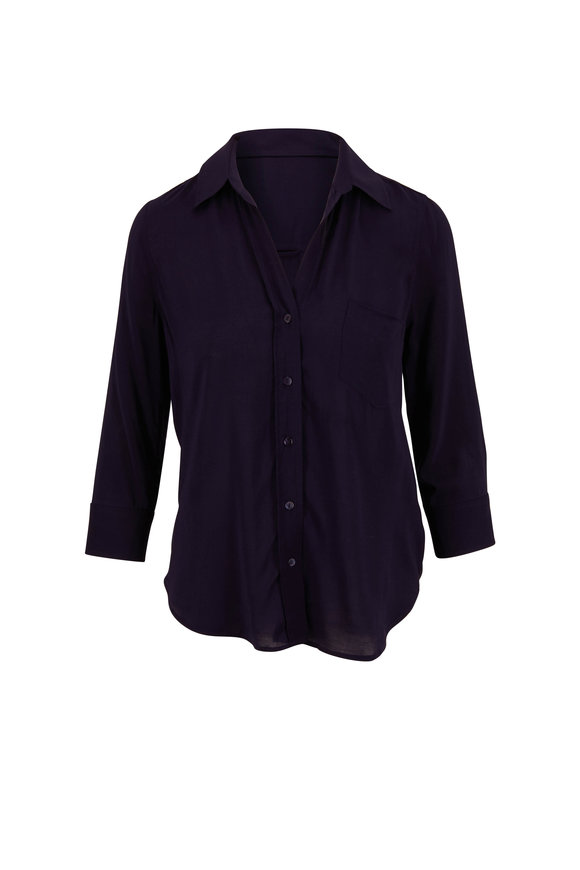 L'Agence Ryan Midnight Blue Three-Quarter Sleeve Blouse
