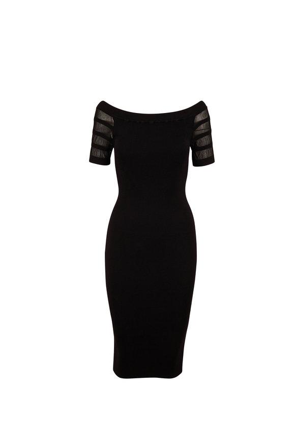 Cushnie Black Off-The-Shoulder Knit Dress