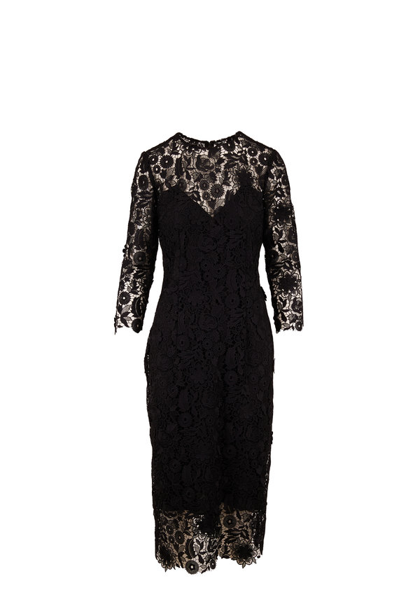Carolina Herrera Black Lace Three-Quarter Sleeve Sheath Dress