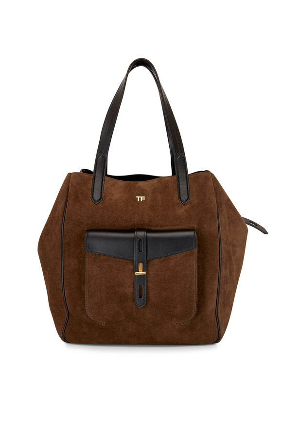 Tom Ford T-Twist Fango & Black Suede Large Tote