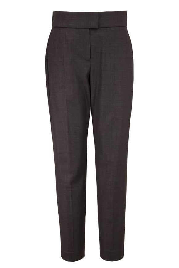 Brunello Cucinelli Solid Sharkskin Gray Wool Pant