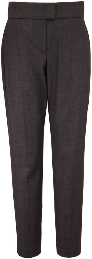Brunello Cucinelli Solid Sharkskin Gray Wool Pant