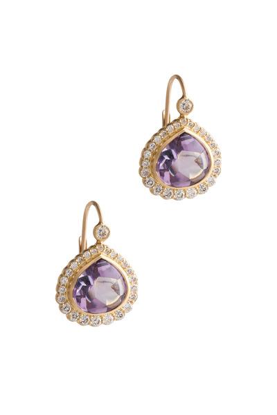 Jamie Wolf - Gold Rose Of France Amethyst Diamond Earrings